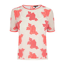 Buy Warehouse Rose Embroidered Mesh T-Shirt, Pink/Pattern Online at johnlewis.com
