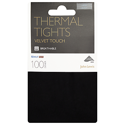 John Lewis 100 Denier Opaque Thermal Tights, Black