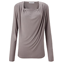 Buy John Lewis Capsule Collection Drape Neck Jersey Top, Zinc Online at johnlewis.com