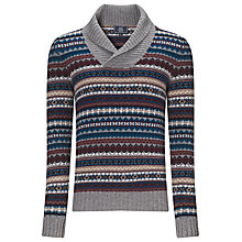 Buy John Lewis Jacquard Shawl Lambswool Jumper, Charcoal Online at johnlewis.com