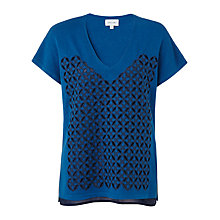 Buy Jigsaw Cut-Work Sweater, Blue Online at johnlewis.com