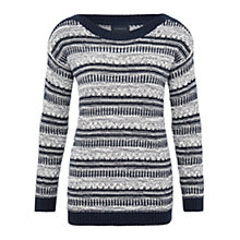 Buy Viyella Tweed and Tape Mix Jumper, Navy Online at johnlewis.com