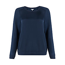 Buy Jigsaw Silk Mix Ribbed Sweatshirt, Navy Online at johnlewis.com