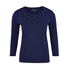 Buy Viyella 3/4 Sleeve Embellished Top, Violet Online at johnlewis.com