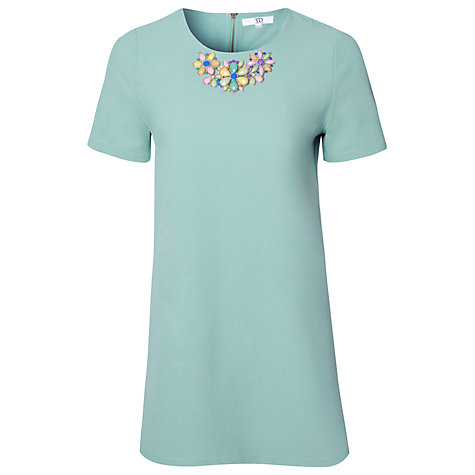 Buy True Decadence Jewelled Collar Shift Dress, Blue Online at johnlewis.com