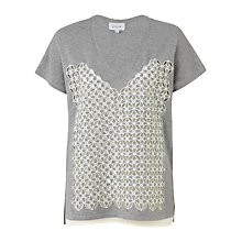Buy Jigsaw Cutwork Sweater, Grey Online at johnlewis.com
