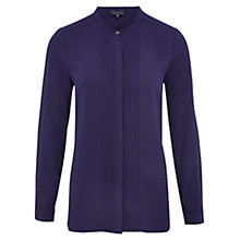 Buy Viyella Collarless Pleated Blouse, Violet Online at johnlewis.com