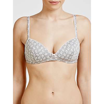 John Lewis Lucy Non-Wired Soft Bra, Lucia Print Grey Marl