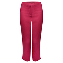 Buy East Crop Linen Trousers, Raspberry Online at johnlewis.com
