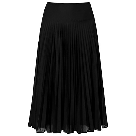 Buy Phase Eight Joss Pleated Midi Skirt, Black Online at johnlewis.com