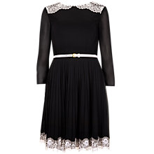 Buy Ted Baker Lace Pleat Detail Dress, Black Online at johnlewis.com