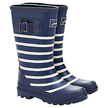 Buy Little Joule Navy Stripe Wellington Boots, Navy/White Online at johnlewis.com