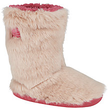 Buy Little Joule Furry Slippers, Pink Online at johnlewis.com