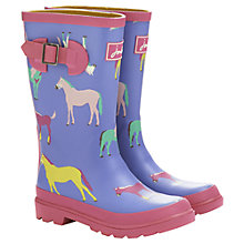 Buy Little Joule Horse Wellington Boots, Blue/Multi Online at johnlewis.com