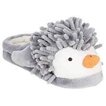 Buy John Lewis Children's Penguins Slippers, Grey/White Online at johnlewis.com
