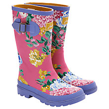 Buy Little Joule Floral Wellington Boots, Pink/Multi Online at johnlewis.com