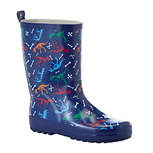 Buy John Lewis Dinosaur Print Wellington Boots, Navy/Multi Online at johnlewis.com
