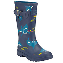 Buy Little Joule Shark Print Wellington Boots, Blue Online at johnlewis.com