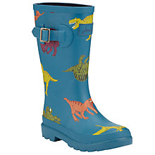 Buy Little Joule Dinosaur Print Wellington Boots, Blue Online at johnlewis.com