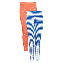 Buy John Lewis Girl Stripe & Spot Leggings, Pack of 2 Online at johnlewis.com