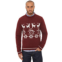 Buy Original Penguin Christmas Jumper, Tawny Port Online at johnlewis.com