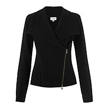 Buy Jigsaw Double Zip Biker Knit, Black Online at johnlewis.com