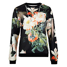 Buy Ted Baker Opulent Bloom Printed Jumper, Black Online at johnlewis.com