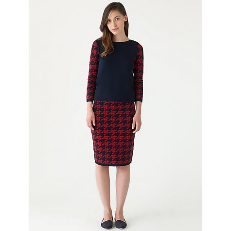 Buy Jigsaw Dogtooth Knitted Skirt, Red Online at johnlewis.com