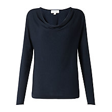 Buy Jigsaw Luxury Blend Cowl Neck Sweatshirt, Navy Online at johnlewis.com