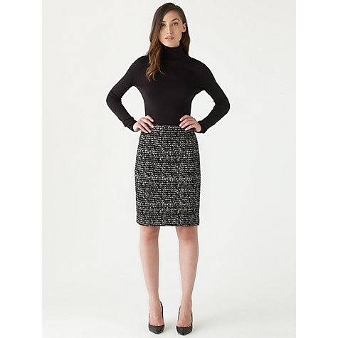 Buy Jigsaw Lucia Scarf Print Pencil Skirt, Black Online at johnlewis.com