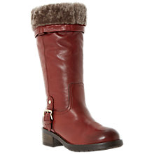 Buy Dune Black Tango Leather Faux Fur Trim and Buckle Detail Calf Boots Online at johnlewis.com