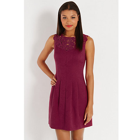 Buy Oasis Bella Trim Fit and Flare Dress, Berry Online at johnlewis.com