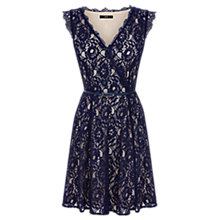 Buy Oasis Lace Wrap Skater Dress, Multi/Blue Online at johnlewis.com