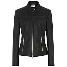 Buy Reiss Gerswin Cropped Leather Jacket, Black Online at johnlewis.com