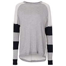 Buy French Connection Varsity Jersey Top, Winter White/Utility Blue/Grey Melange Online at johnlewis.com
