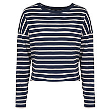 Buy French Connection French Stripe 3/4 Length Sleeve Top, Utility Blue Online at johnlewis.com