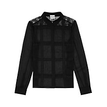 Buy Reiss Pierre Lace Shirt, Black Online at johnlewis.com