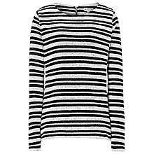 Buy Reiss Orlanda Long Sleeve Stripe Jersey Top, Black/White Online at johnlewis.com