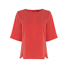 Buy Warehouse Curved Hem Elbow T-Shirt, Orange Online at johnlewis.com