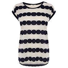 Buy Oasis Scalloped Lace Stripe T-Shirt, Multi/Blue Online at johnlewis.com