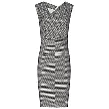 Buy Reiss Mina Geometric Stitch Dress, Black/Cream Online at johnlewis.com