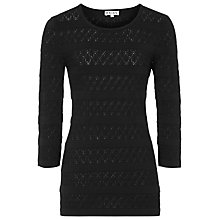 Buy Reiss Rene Lace Knit Top, Black Online at johnlewis.com