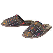 Buy Barbour Classic Tartan Slippers, Green Online at johnlewis.com