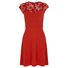 Buy Warehouse Lace Yoke Sweater Dress, Orange Online at johnlewis.com