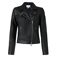 Buy Jigsaw Quilted Sleeve Biker Jacket, Black Online at johnlewis.com