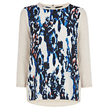 Buy Warehouse Smudgy Print Front Jumper, Beige Online at johnlewis.com
