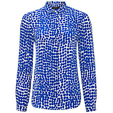 Buy Jaeger Abstract Spot Silk Blouse, True Blue / Ivory Online at johnlewis.com