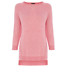 Buy Warehouse Exposed Seam Boxy Crew Top, Light Pink Online at johnlewis.com