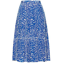 Buy Jaeger Long Abstract Spot Silk Skirt, True Blue Online at johnlewis.com