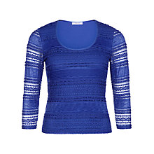 Buy Precis Petite Striped Lace Jersey Top, Cobalt Online at johnlewis.com